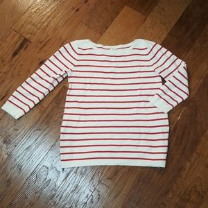 J CREW red stripe sweater zip detail